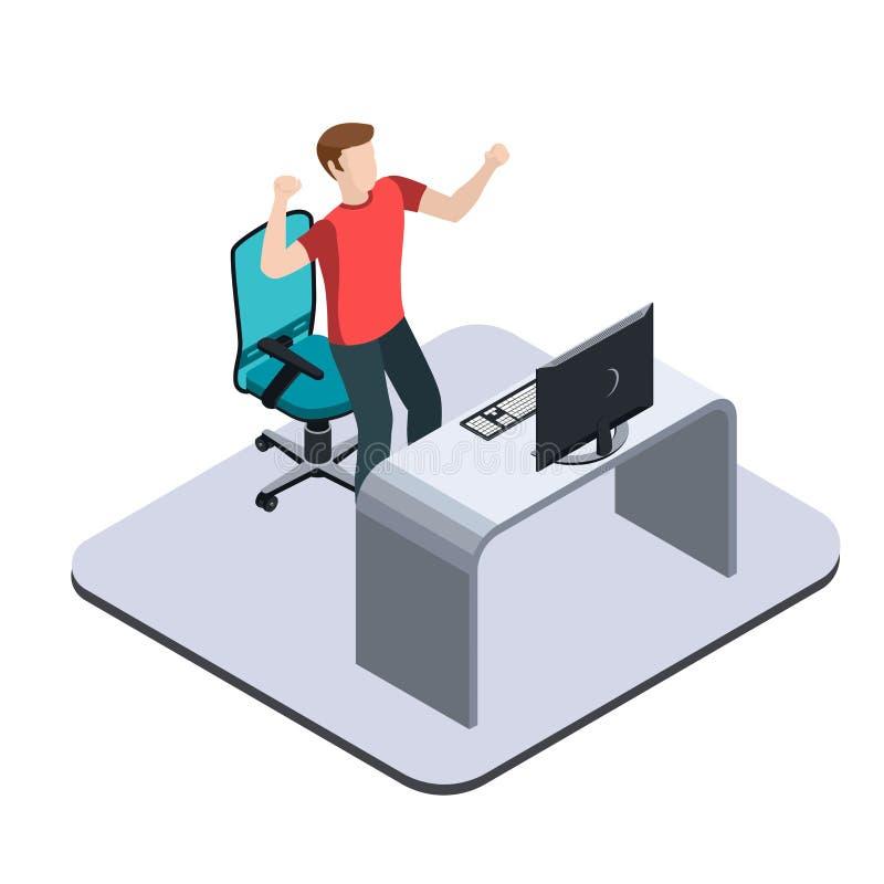 La alegría y el placer, un hombre joven se coloca cerca de una tabla con un ordenador stock de ilustración