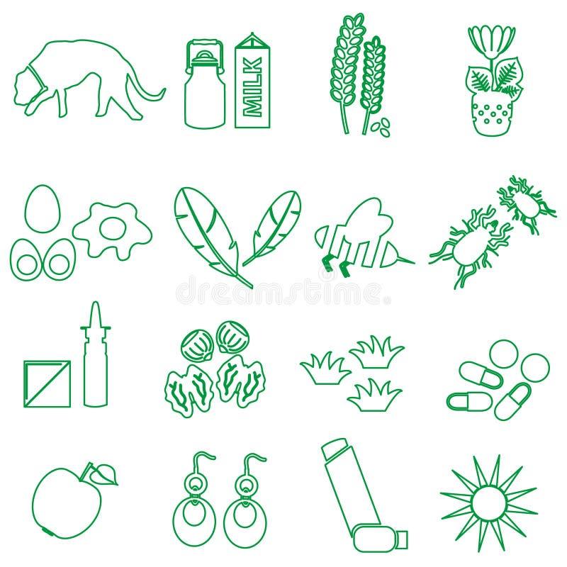 La alergia y los iconos verdes del esquema de los alergénicos fijaron eps10 stock de ilustración