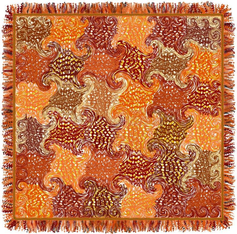 La alfombra colorida cuadrada con grunge rayó y remolinó modelo y franja ilustración del vector