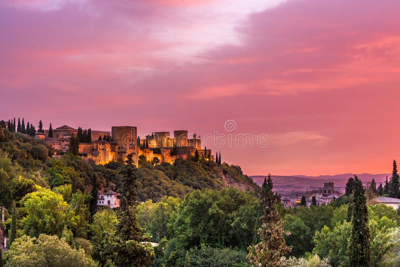 La Alhambra and Granada during sunset royalty free stock image