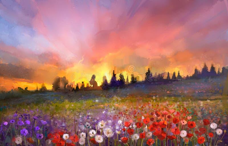 La amapola de la pintura al óleo, diente de león, margarita florece en campos ilustración del vector