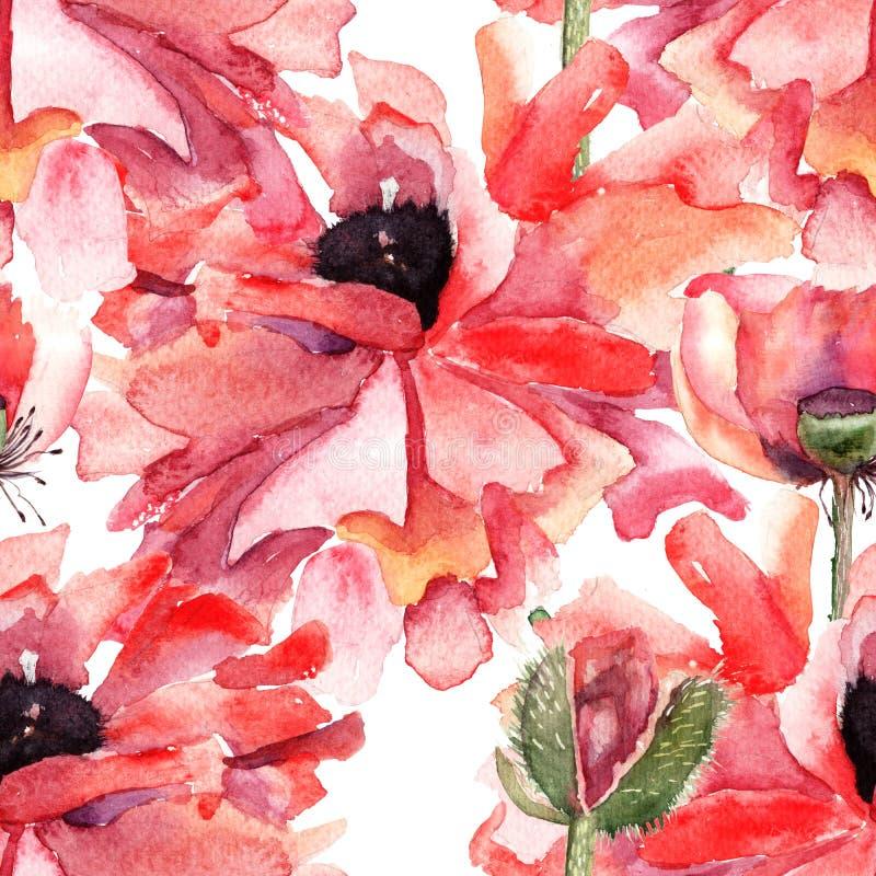 La amapola estilizada florece el ejemplo stock de ilustración