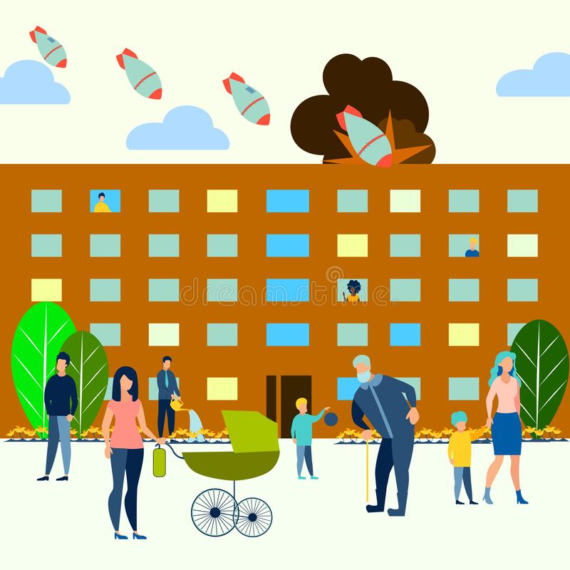 La amenaza de la guerra atómica La yarda residencial, familias camina con los niños Las bombas vuelan en la ciudad En estilo mini libre illustration