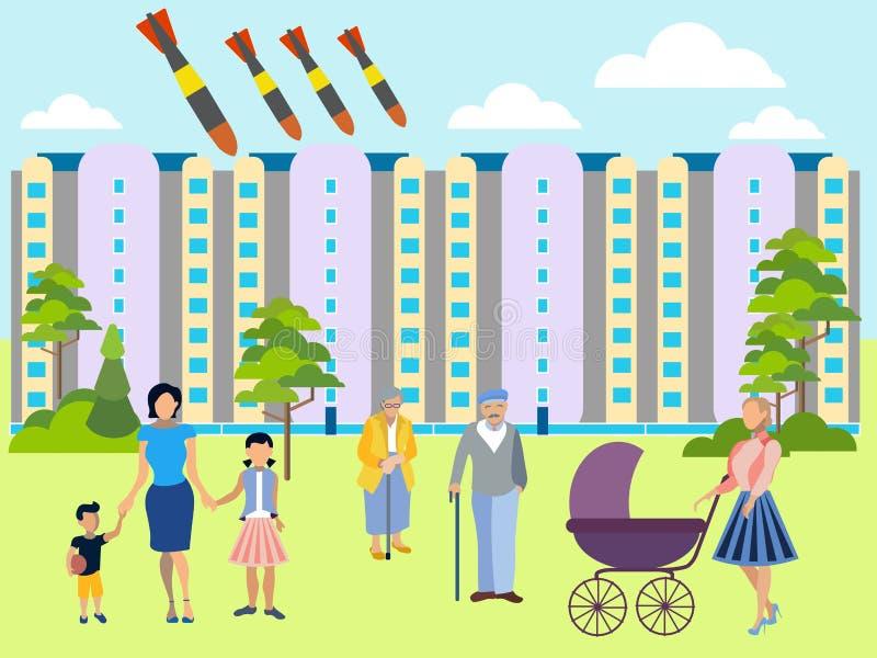 La amenaza de la guerra atómica La yarda residencial, familias camina con los niños Las bombas vuelan en la ciudad En estilo mini stock de ilustración