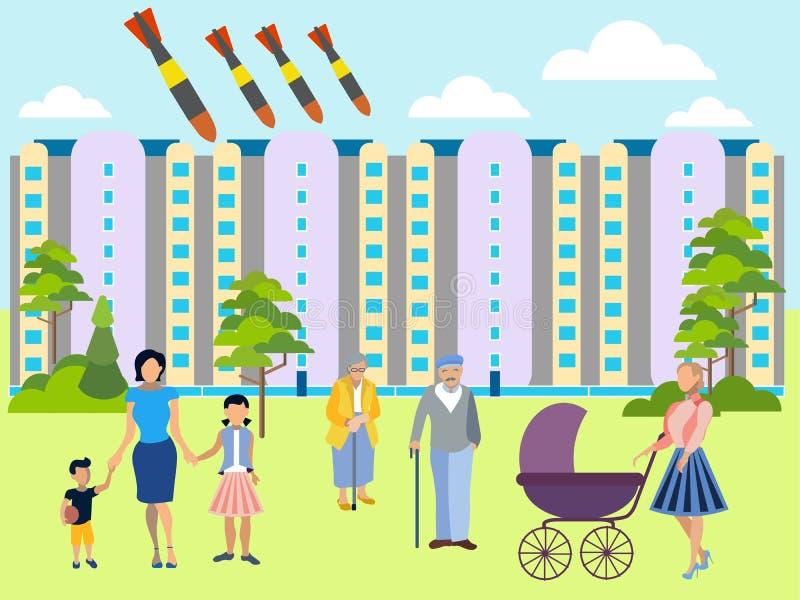 La amenaza de la guerra at?mica La yarda residencial, familias camina con los ni?os Las bombas vuelan en la ciudad En estilo mini libre illustration