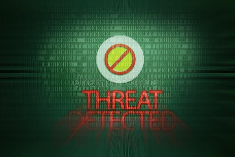 La amenaza detectó el mensaje Virus de ordenador fotos de archivo