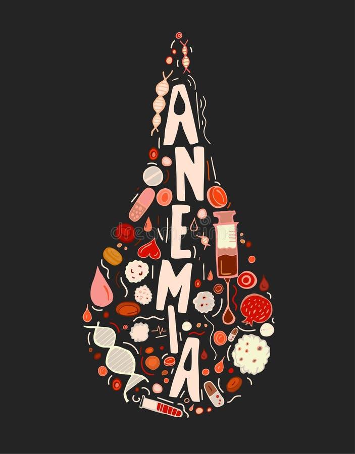 La anemia garabatea el fondo libre illustration