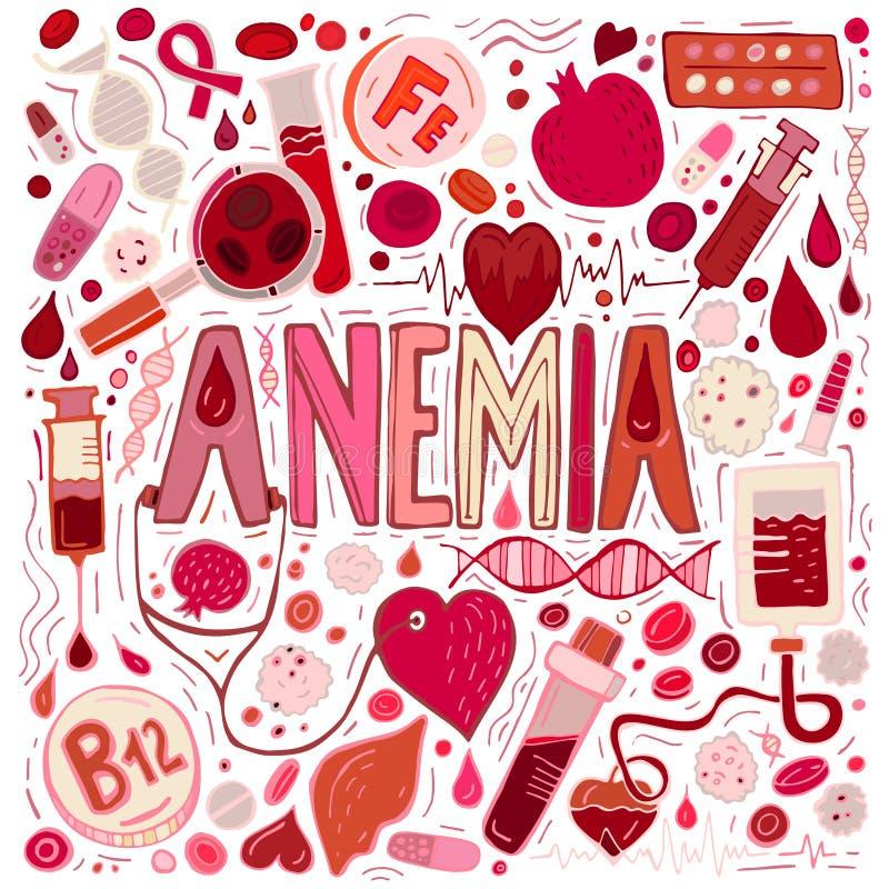 La anemia garabatea el fondo stock de ilustración