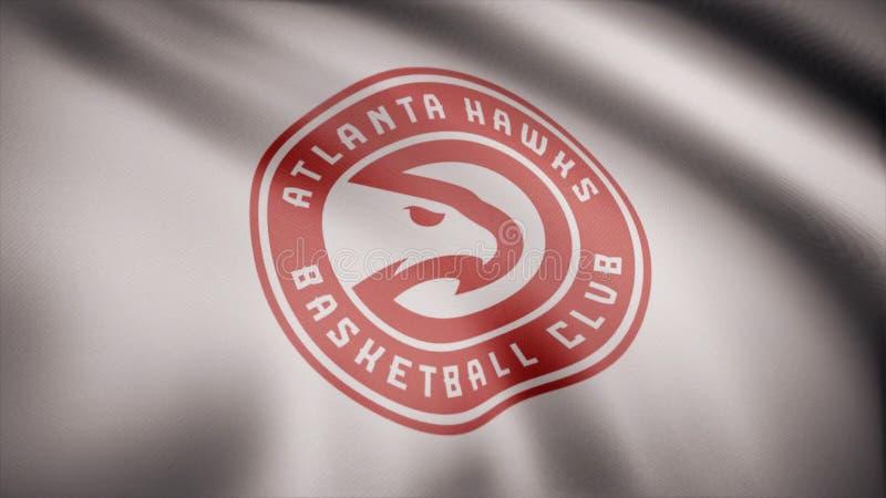 La animación de la bandera con el símbolo del baloncesto Atlanta Hawks Animación editorial fotos de archivo