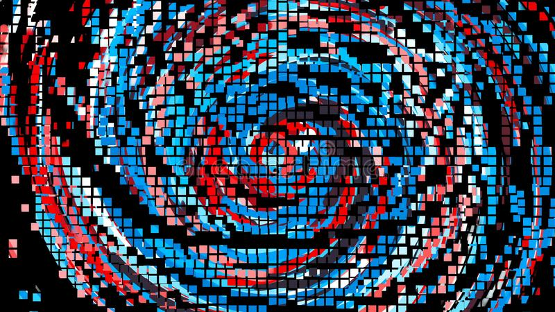La animación del pixel del círculo colorido alinea, contexto del estilo de la historieta, fondo generado por ordenador, 3d rinde libre illustration