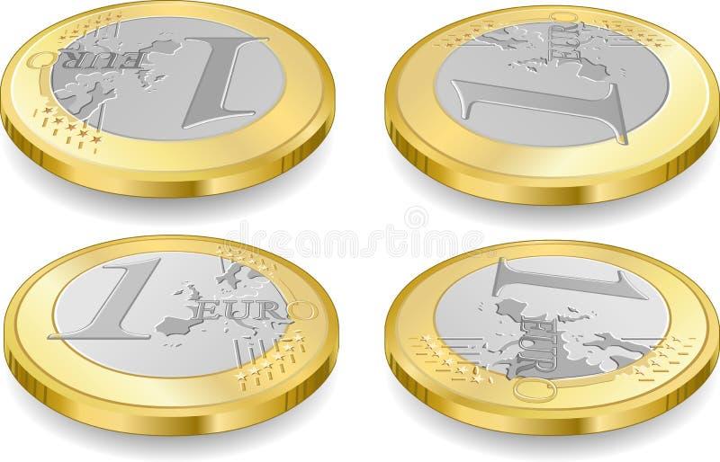 Sistema completo de monedas de un euro stock de ilustración