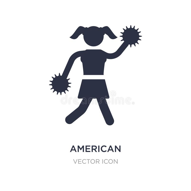la animadora del fútbol americano salta el icono en el fondo blanco Ejemplo simple del elemento del concepto del fútbol americano ilustración del vector