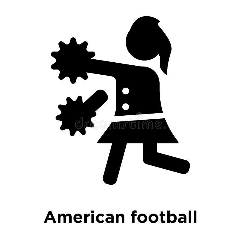 La animadora del fútbol americano salta vector del icono aislada en blanco ilustración del vector