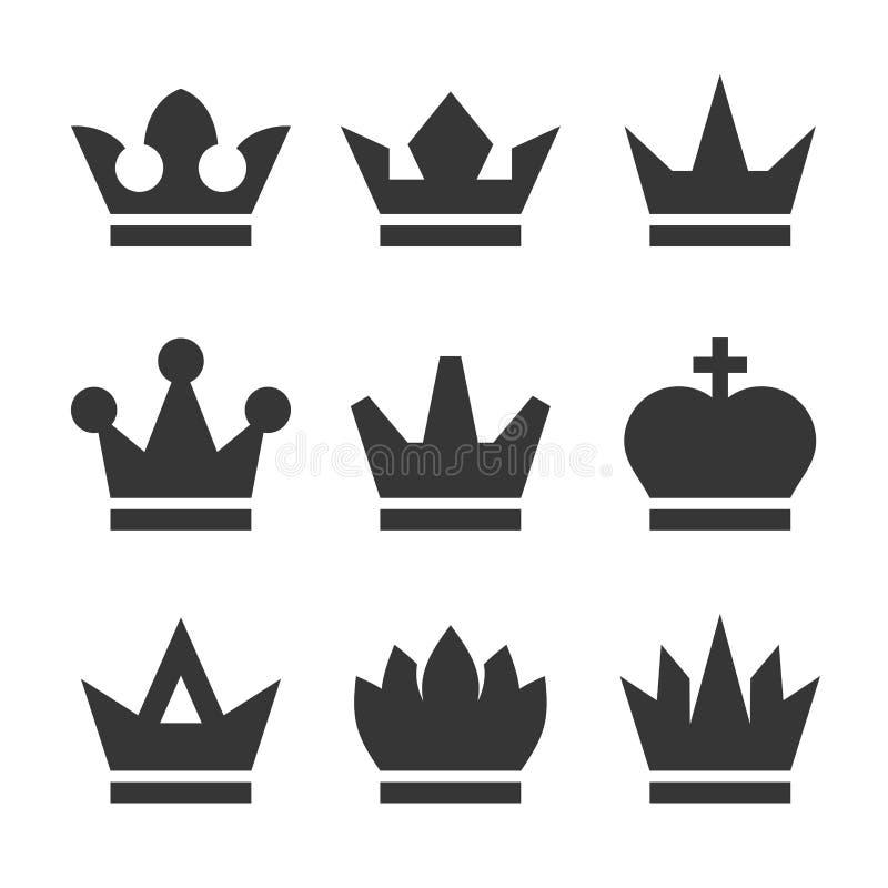 La antig?edad del vintage corona los iconos fijados en el fondo blanco Vector ilustración del vector