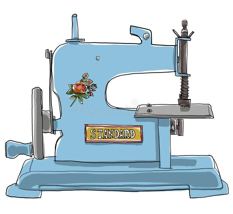 La antigüedad juega la máquina de coser azul stock de ilustración