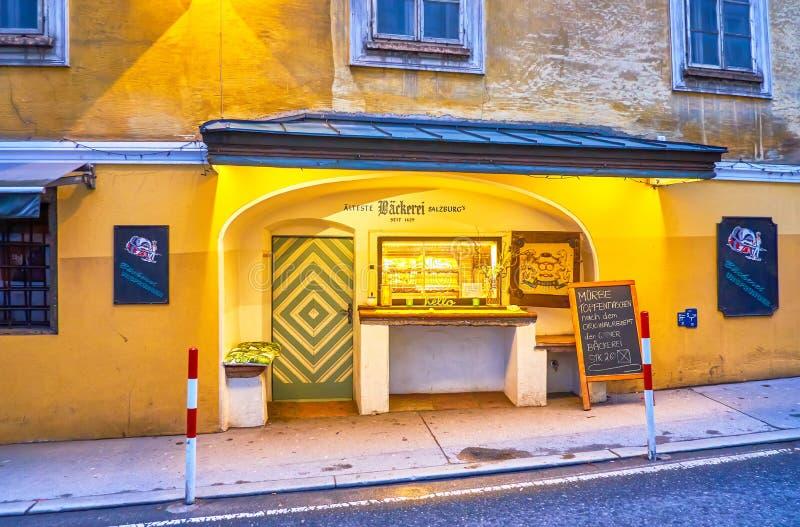 La antigua panadería de Salzburgo, Austria foto de archivo libre de regalías