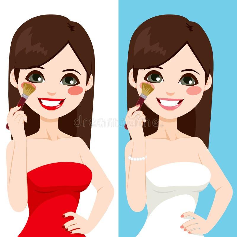 La aplicación de la mujer se ruboriza compone stock de ilustración