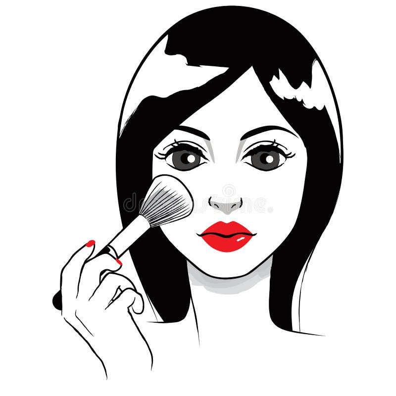 La aplicación de la mujer se ruboriza stock de ilustración