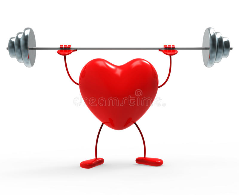 La aptitud de los pesos indica formas y ejercicio del corazón libre illustration