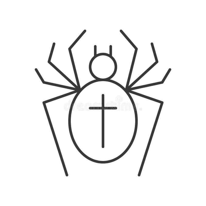 La araña con la muestra cruzada, Halloween relacionó el movimiento editable del icono ilustración del vector