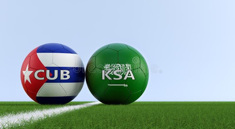 La Arabia Saudita contra Partido de fútbol de Cuba - balones de fútbol en los colores nacionales de la Arabia Saudita y de Cuba e stock de ilustración