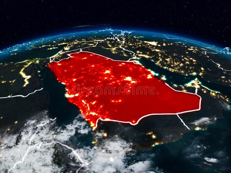 La Arabia Saudita en la noche fotografía de archivo libre de regalías