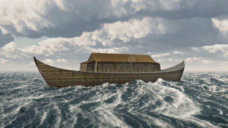 La arca de Noah en el mar tempestuoso stock de ilustración