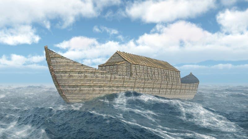 La arca de Noah en el océano tempestuoso stock de ilustración