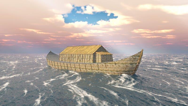 La arca de Noah en el océano tempestuoso ilustración del vector