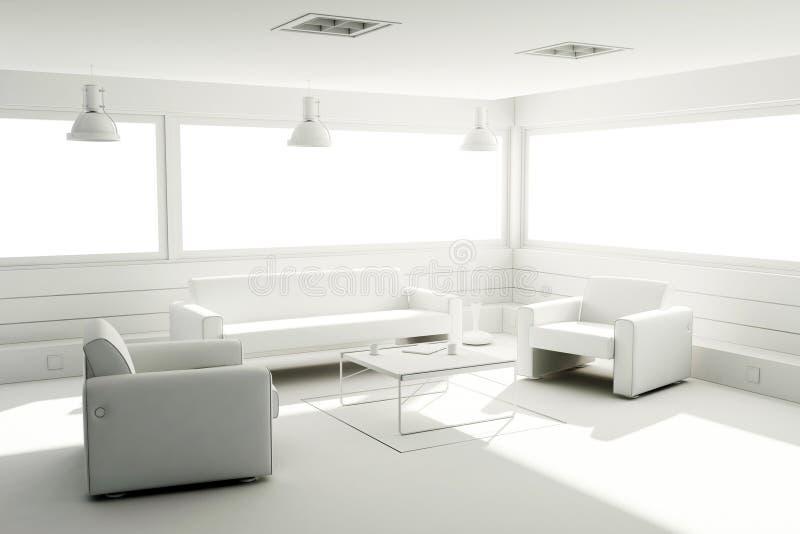la arcilla 3d rinde de un interior moderno stock de ilustración