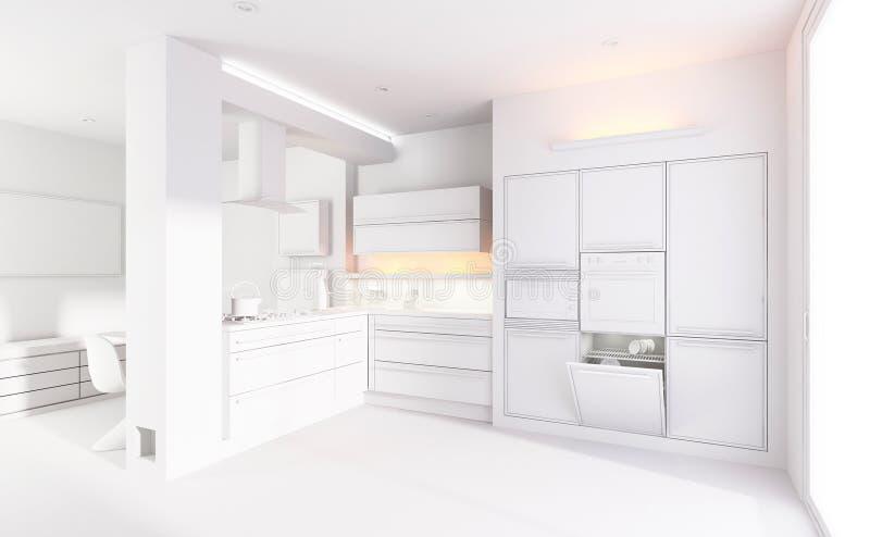 la arcilla 3d rinde de una cocina moderna stock de ilustración