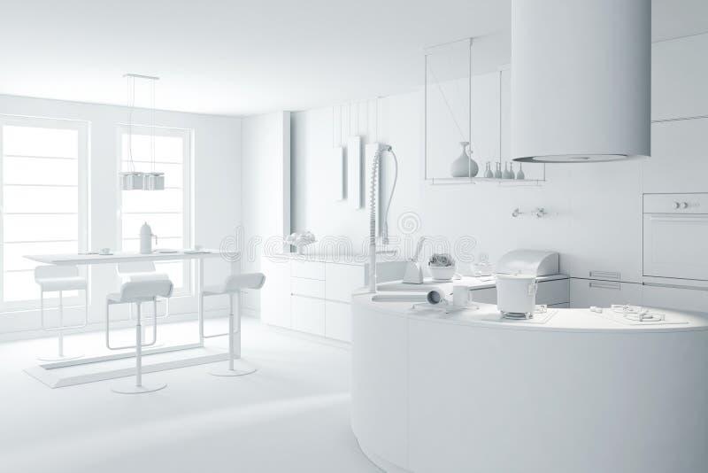 la arcilla blanca 3d rinde de una cocina moderna stock de ilustración