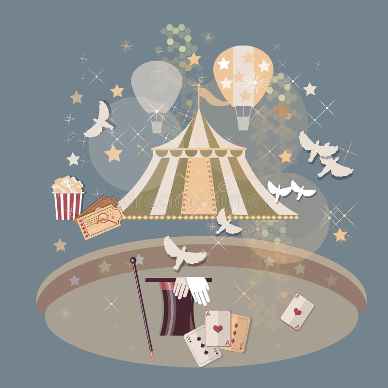 La arena del circo marca el vintage de los trucos mágicos ilustración del vector