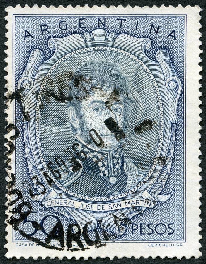 La ARGENTINA - 1954: demostraciones Jose Francisco de San Martin y Matorras 1778-1850 imagen de archivo libre de regalías