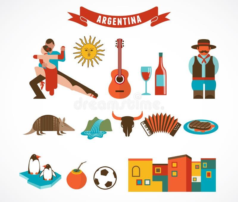 La Argentina - sistema de iconos ilustración del vector