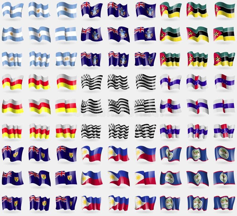 La Argentina, Tristan da Cunha, Mozambique, Ossetia del norte, Bretaña, Antillas holandesas, turcos y Caicos, Filipinas, Belice g libre illustration