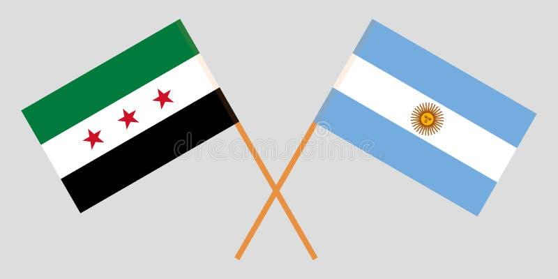 La Argentina y gobierno provisional de Siria Las banderas del argentino y de la coalición Colores oficiales Proporci?n correcta V libre illustration