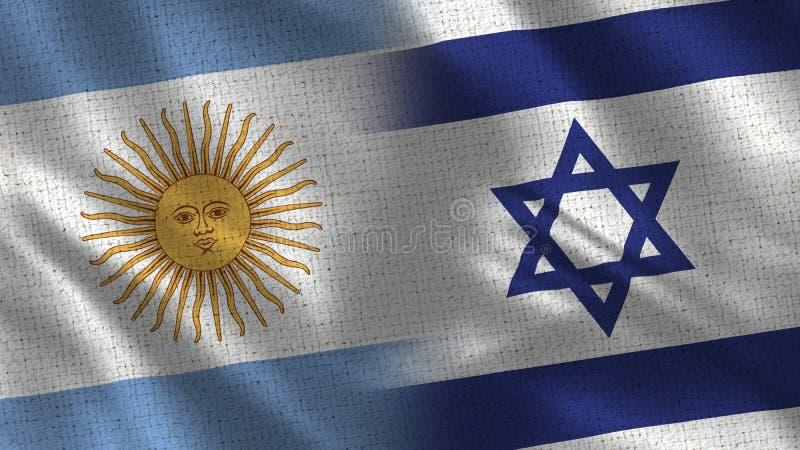 La Argentina y Israel Realistic Half Flags Together stock de ilustración