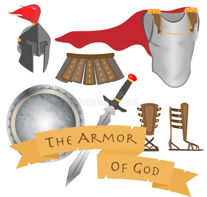 La armadura del guerrero Jesus Christ Holy Spirit de dios ilustración del vector