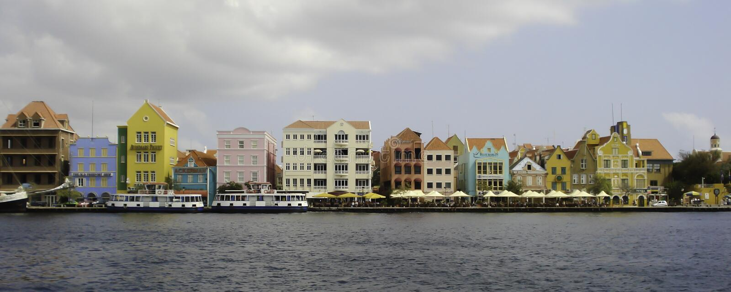 La arquitectura brillante de Willemstad, Curaçao fotos de archivo libres de regalías