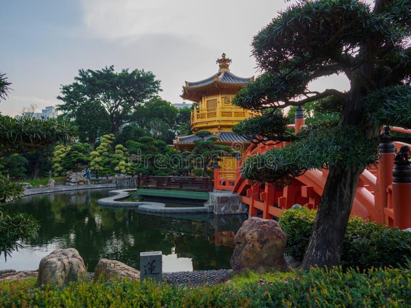 La arquitectura china clásica de Nan Lian Garden en Hong Kong foto de archivo libre de regalías