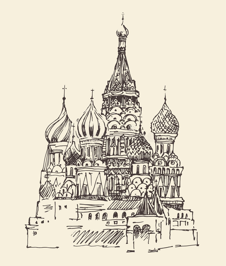 La arquitectura de la ciudad de Moscú (catedral de Vasily bendecido), vintage grabó el ejemplo ilustración del vector