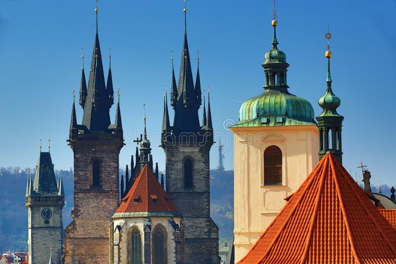 La arquitectura de las casas viejas, ciudad vieja, Praga, República Checa imagen de archivo libre de regalías