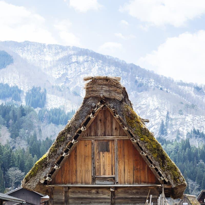 La arquitectura de Shiragawago detalla el pueblo Gifu de la casa del tejado de Gassho fotos de archivo libres de regalías