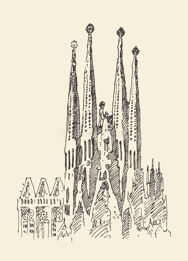 La arquitectura en Barcelona, vintage grabó el ejemplo, mano dibujada ilustración del vector