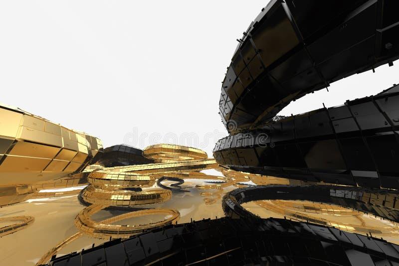 La arquitectura futura moderna del extracto contiene edificios extraño-formados bajo la forma de espirales dirigidos hacia arriba imagen de archivo