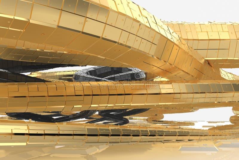 La arquitectura futura moderna del extracto contiene edificios extraño-formados bajo la forma de espirales dirigidos hacia arriba imágenes de archivo libres de regalías