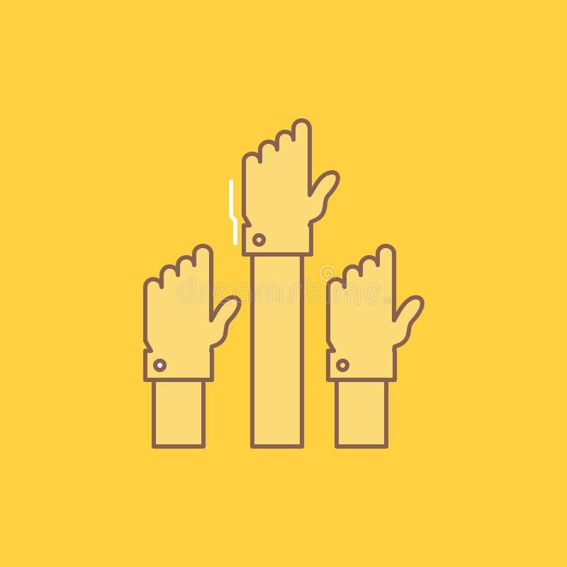 La aspiración, negocio, deseo, empleado, línea plana atenta llenó el icono r libre illustration