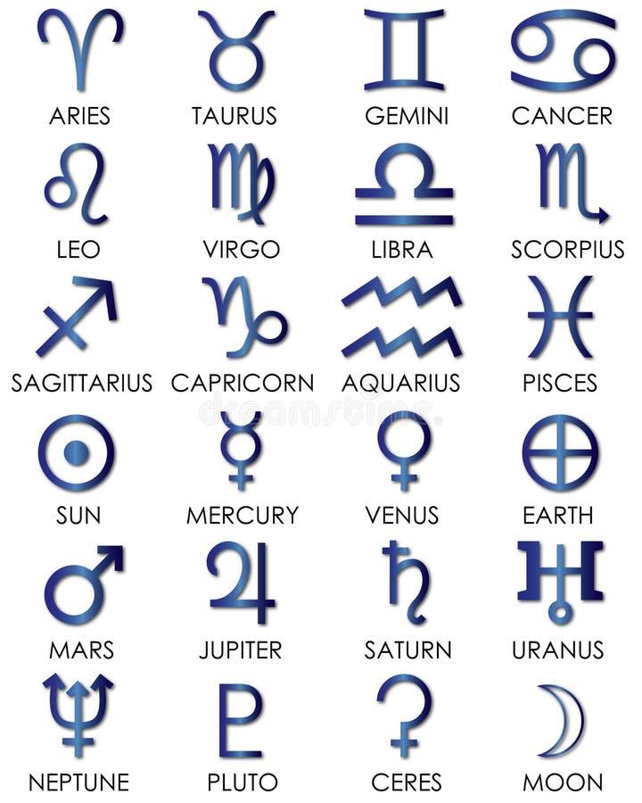 La astrología y el zodiaco canta stock de ilustración