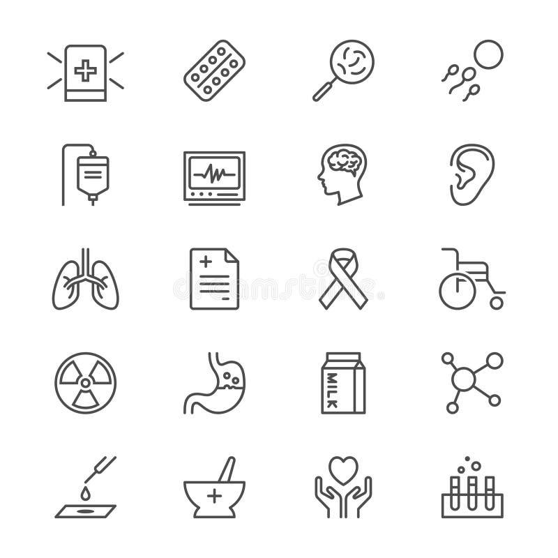 La atención sanitaria enrarece iconos ilustración del vector